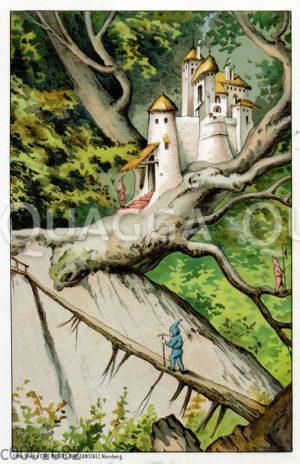 Zwerge und Zwergenschloss in den Bäumen