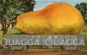 Überdimensionale Birne  auf einem Eisenbahnwaggon