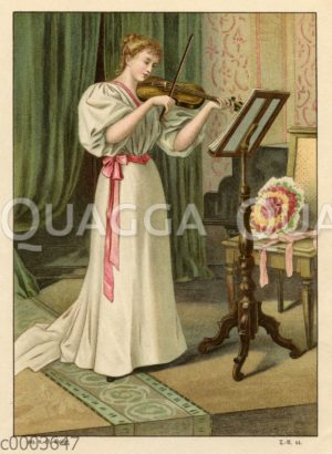 Junge Violinistin in bürgerlichem Salon