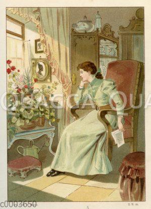 Junge Frau sitzt sinnierend am Fenster