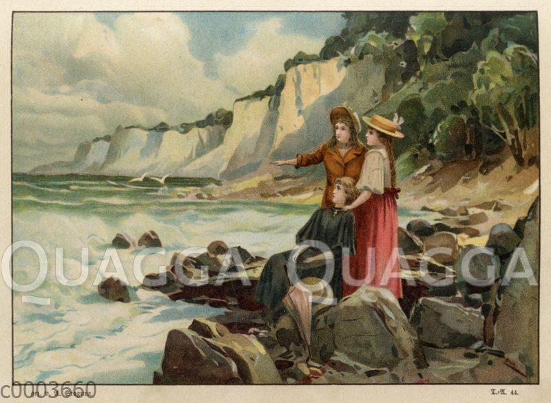 Junge Frauen an Steilküste (möglichweise Rügen)