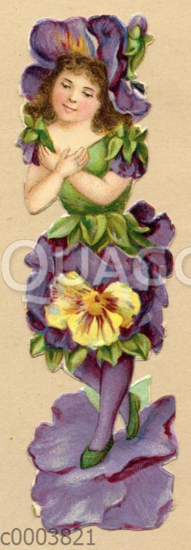 Glanzbild: Blumenmädchen in Stiefmütterchen
