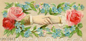 Glanzbild: Hände von Mann und Frau halten sich