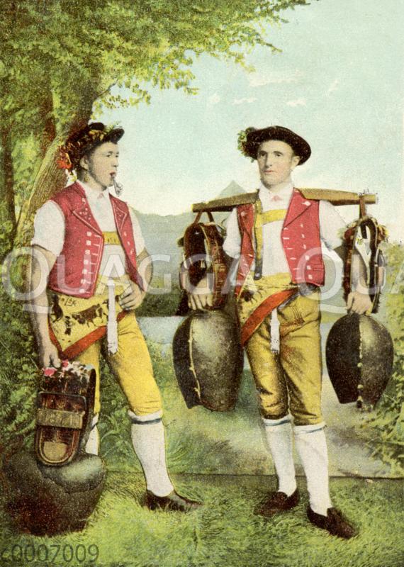 Schweizer Senner mit großen Kuhglocken