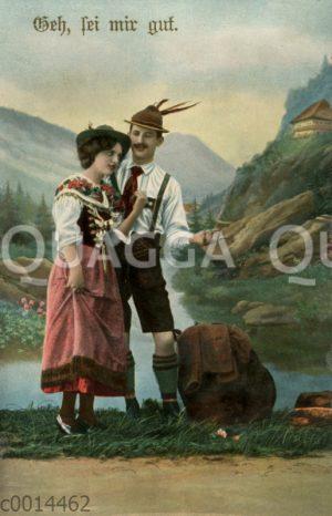 Junger Mann und junge Frau in bayerischer Tracht vor Bergsee (vielleicht Königgsee)