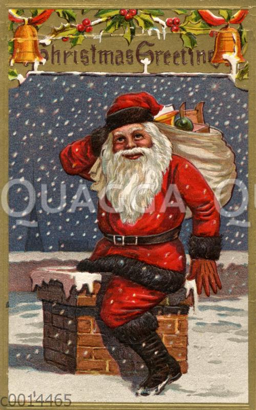 Weihnachtsmann mit einem Sack voller Geschenke klettert in einen Schornstein