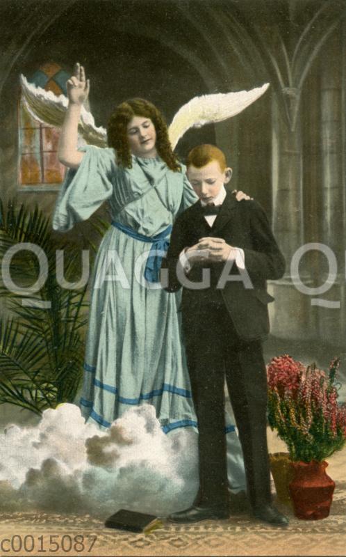 Konfirmationskarte: Junge betet