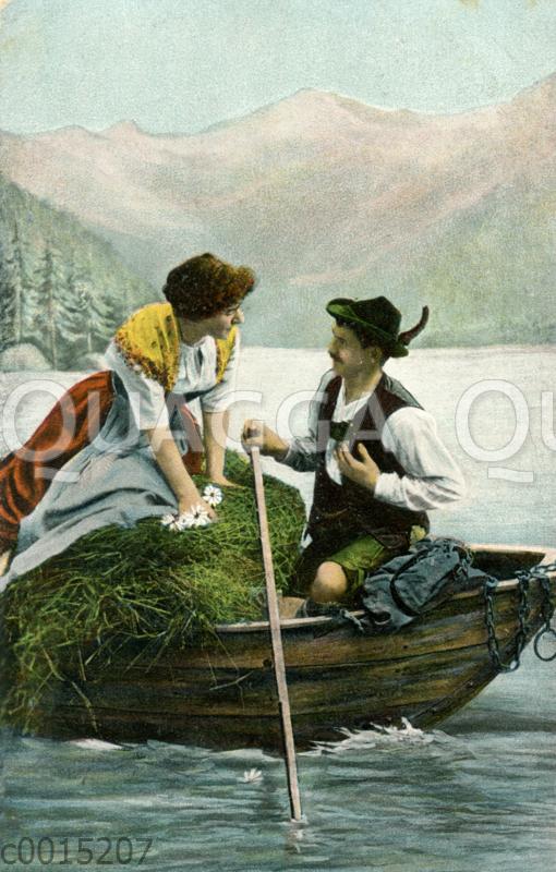 Bayerisches Paar in einem Boot