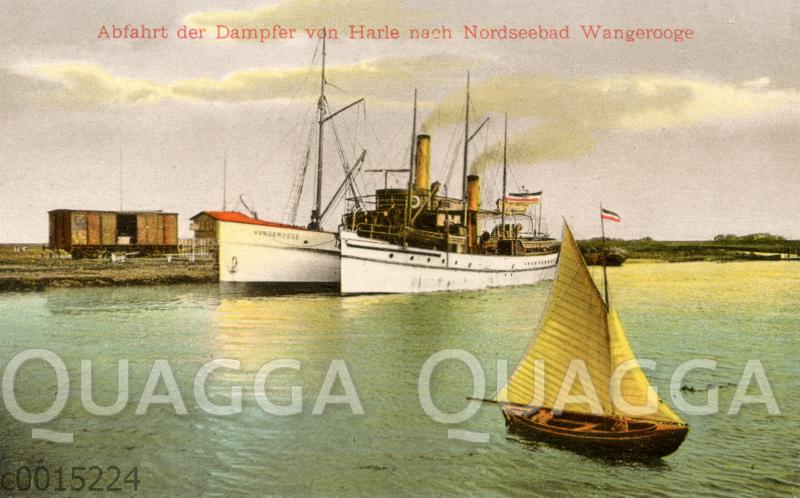 Nordseebad Wangerooge: Abfahrt der Dampfer von Harle nach Nordseebad Wangerooge