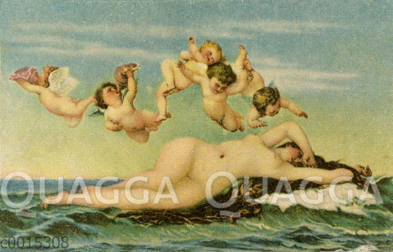 Die Geburt der Venus. Chromolithographie nach dem Gemälde von Alexandre Cabanel