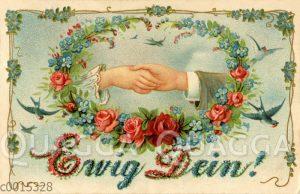 Hände von Mann und Frau halten sich in einem Blumenkranz