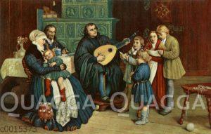 Martin Luther mit Familie bei der Hausmusik