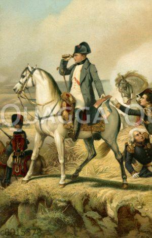 Napoleon Bonaparte auf dem Pferd in der Schlacht von Wagram