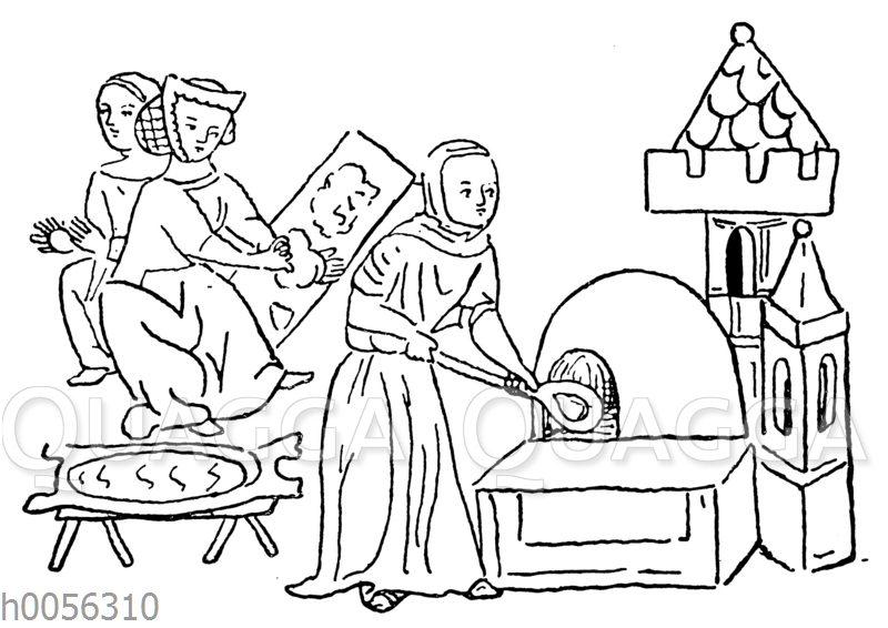 Backende Mägde um die Mitte des 14. Jahrhunderts