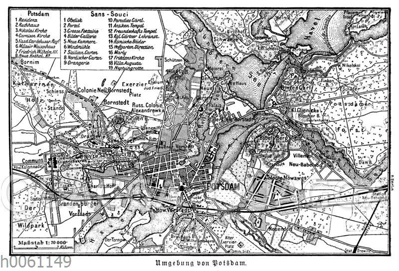 Karte der Umgebung von Potsdam mit Sanssouci