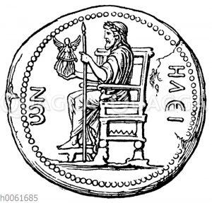Zeus auf dem Thronos sitzend