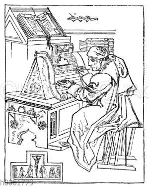 Schreibender Klosterbruder in seiner Zelle
