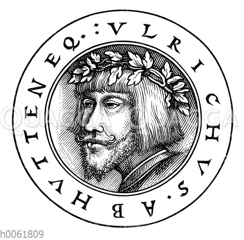 Ulrich von Huttens Bildnis von einer seiner Streitschriften gegen Erasmus.