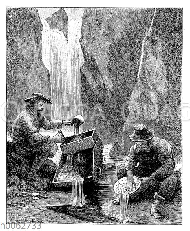 Goldwäsche mit Wiege und Pfanne in den Felsengebirgen