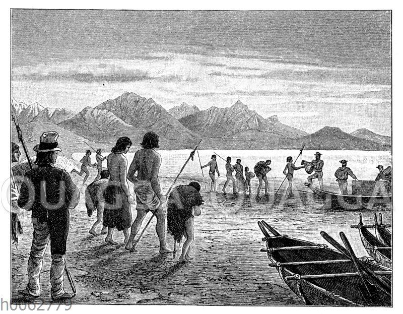 Tauschhandel mit Eingeborenen an der Magelhaensstraße in der Nähe von Punta Arenas