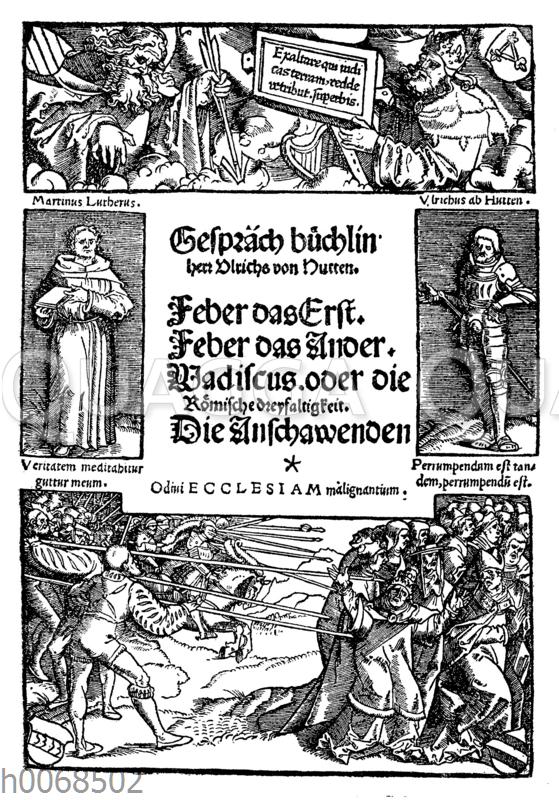 Titelblatt von Ulrich Huttens berühmtem Gesprächsbüchlein