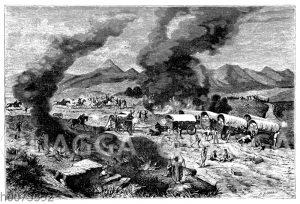 Angriff der Indianer auf einen Wagenzug