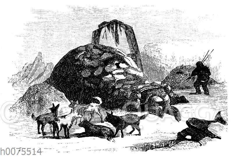 Eskimo kriecht in seinen Iglu