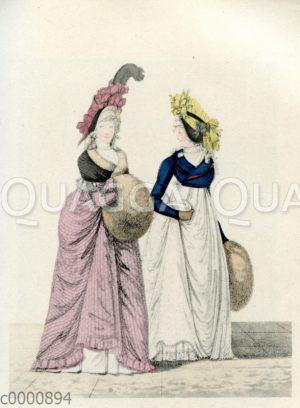 Damen mit Kopfputz und Muff
