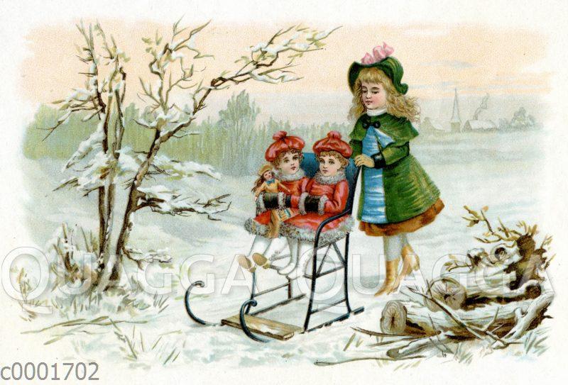 Junge Frau schiebt Schlitten mit zwei kleinen Mädchen und Puppe