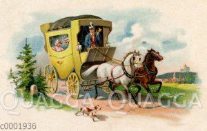 Postkutsche mit weißem und braunem Pferd