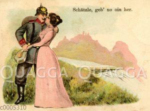 Soldat mit Pickelhaube küsst Frau
