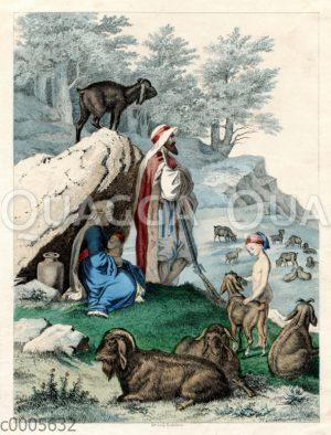 Arabische Schafhirten mit ihrer Herde