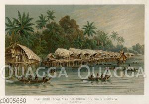 Pfahldorf Sowek an der Nordküste von Neuguinea