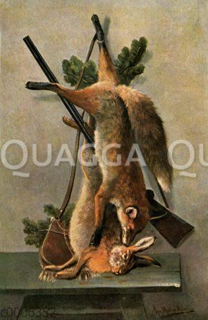 Jagdtrophäe: Hase und Fuchs