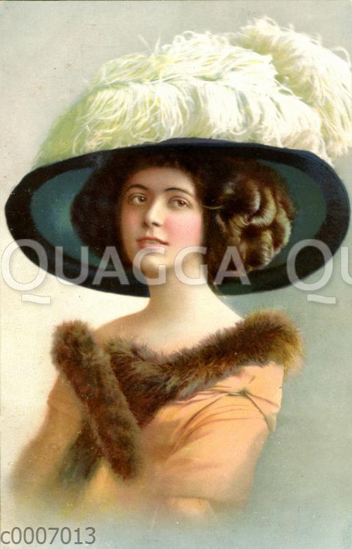Dame mit Pelzkragen und großem Hut mit Straußenfeder