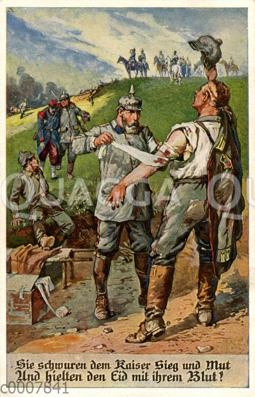 """Soldat mit Pickelhaube verbindet Angeschossenen. Bildunterschrift: 'Sie schwuren dem Kaiser Sieg und Mut Und hielten den Eid mit ihrem Blut!"""""""