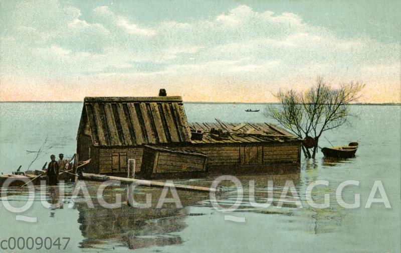 Überschwemmtes Bauernhaus am Don