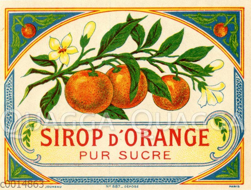 Etikett für Orangensirup (Sirop d'Orange pur sucre)