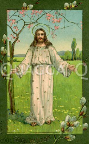 Jesus am Ostertag mit Weidenkätzchen