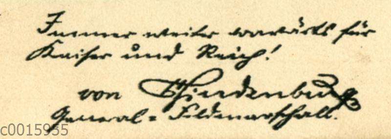 Paul von Hindenburg: Autograph