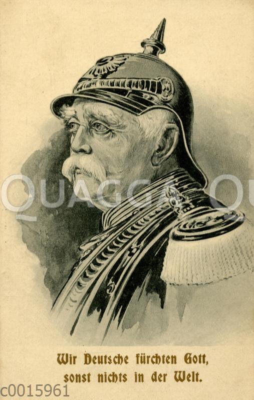Otto von Bismarck mit Pickelhaube