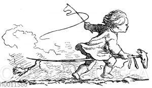 Kind reitet auf einem Steckenpferd