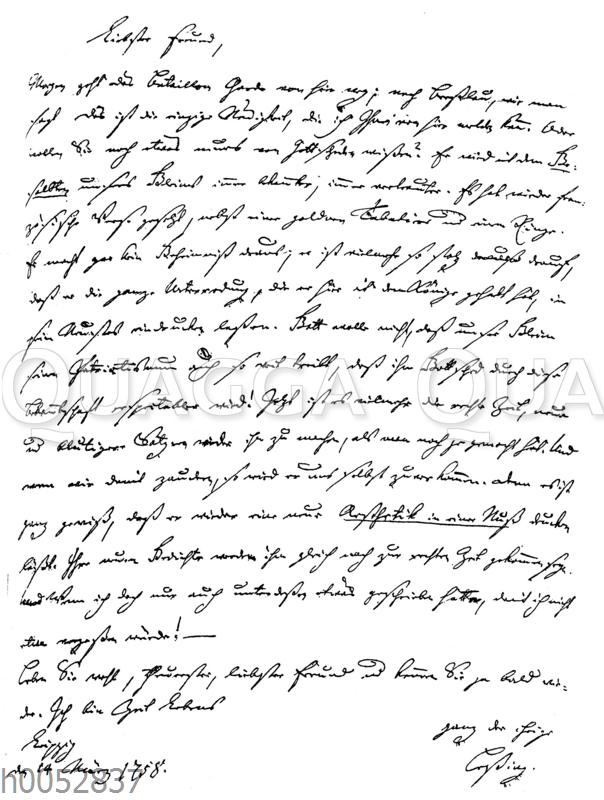 Brief Lessings an Christian Ewald v. Kleist vom 14. März 1758