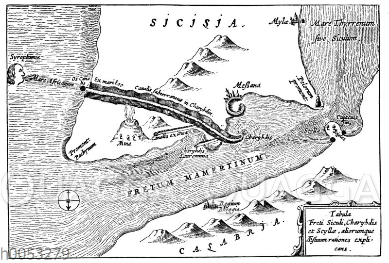 Der Meeresstrudel Skylla und Charybdis bei Sizilien