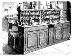 Arbeitstisch mit vier Plätzen im Chemischen Laboratorium der Universität Leipzig