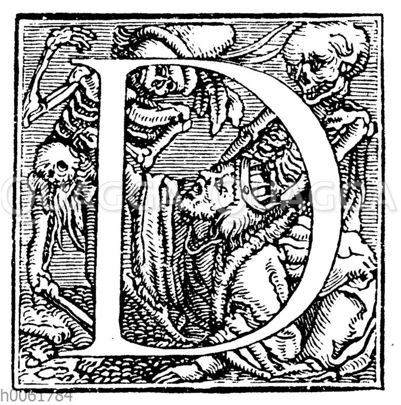 Buchstabe D aus Holbeins kleinerem Totentanzalphabet