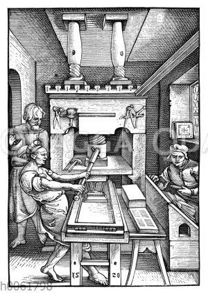 Buchdruckerpresse von 1520