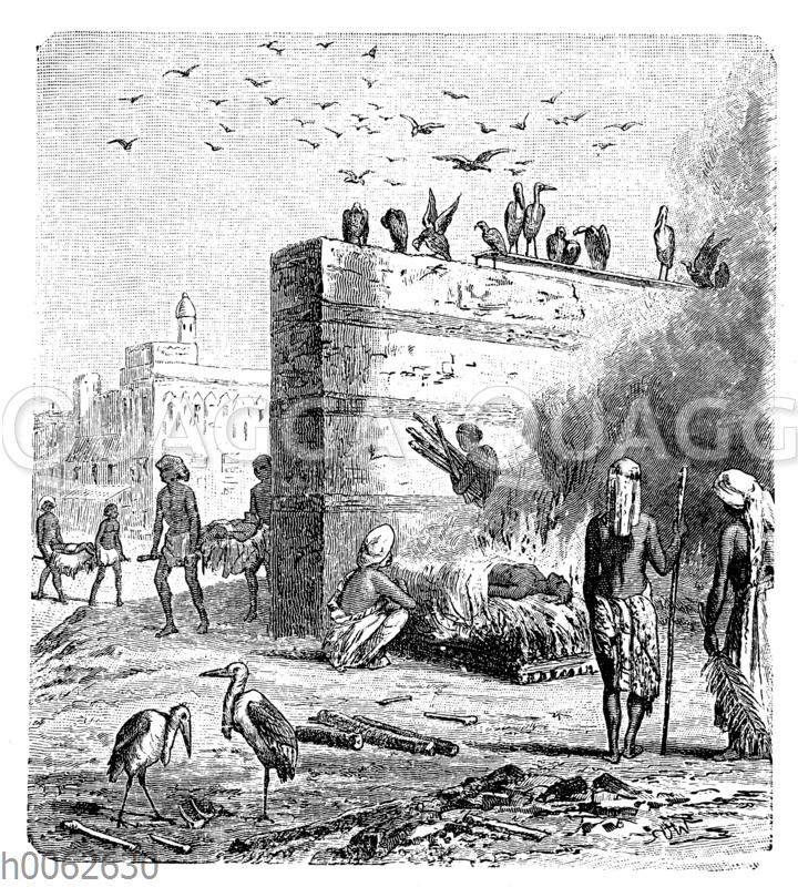 Totenverbrennung in Kalkutta