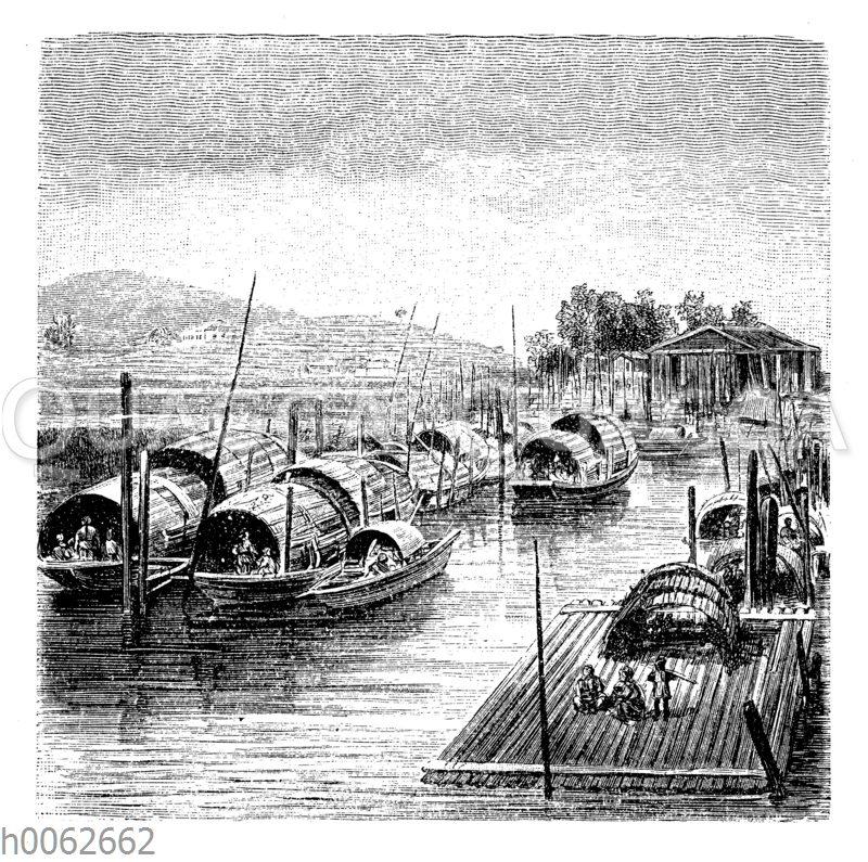 Schwimmende Wohnungen auf dem Kantonfluß