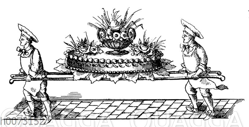 Zwei Konditoren tragen eine große Torte